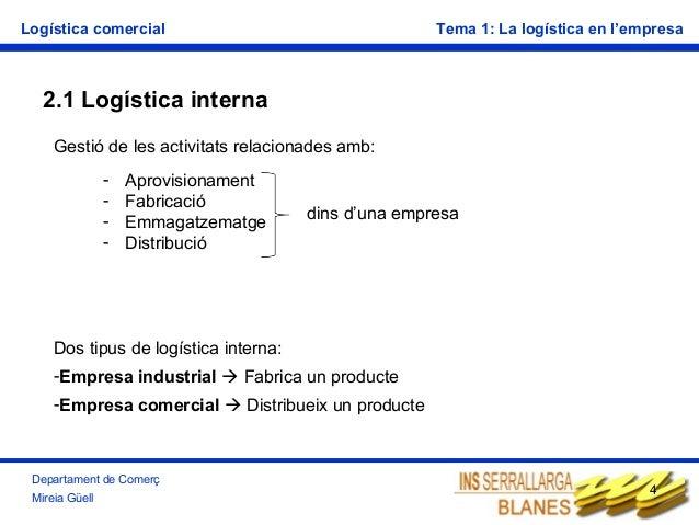 Logística comercial  Tema 1: La logística en l'empresa  2.1 Logística interna Gestió de les activitats relacionades amb: -...