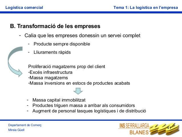 Logística comercial  Tema 1: La logística en l'empresa  B. Transformació de les empreses - Calia que les empreses donessin...