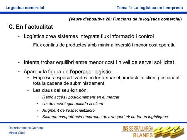 Logística comercial  Tema 1: La logística en l'empresa (Veure diapositiva 28: Funcions de la logística comercial)  C. En l...