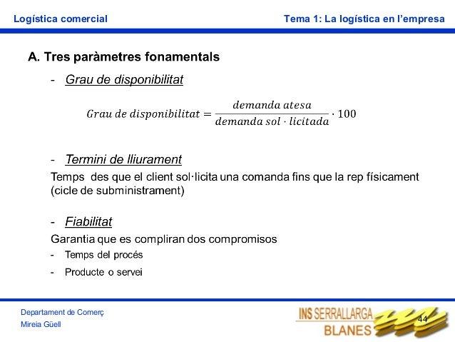 Logística comercial  Departament de Comerç Mireia Güell  Tema 1: La logística en l'empresa  44