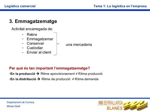 Logística comercial  Tema 1: La logística en l'empresa  3. Emmagatzematge Activitat encarregada de: - Rebre - Emmagatzemar...