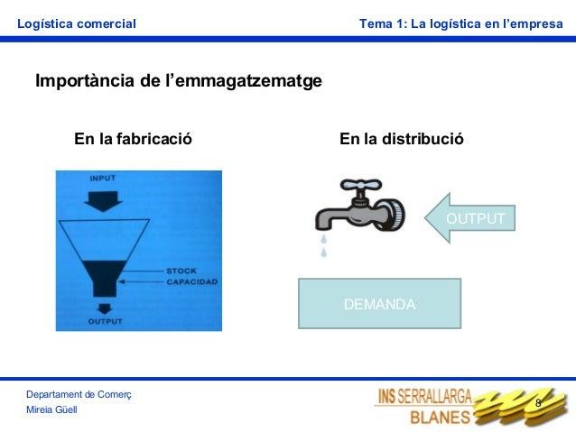 Logística comercial  Tema 1: La logística en l'empresa  Importància de l'emmagatzematge En la fabricació  En la distribuci...