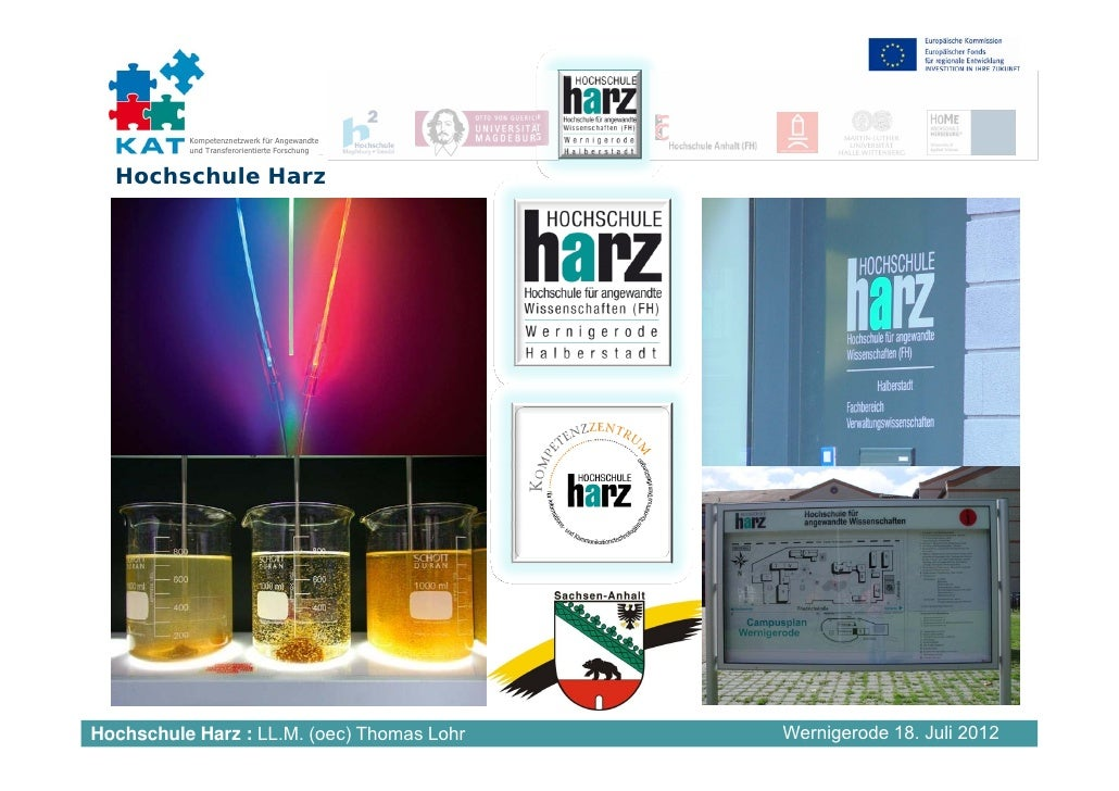 Kompetenznetzwerk für Angewandte          und Transferorientierte Forschung  Hochschule HarzHochschule Harz : LL.M. (oec) ...