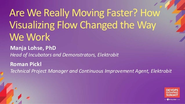 Are We Really Moving Faster? How Visualizing Flow Changed the Way We Work Manja Lohse, PhD Head of Incubators and Demonstr...