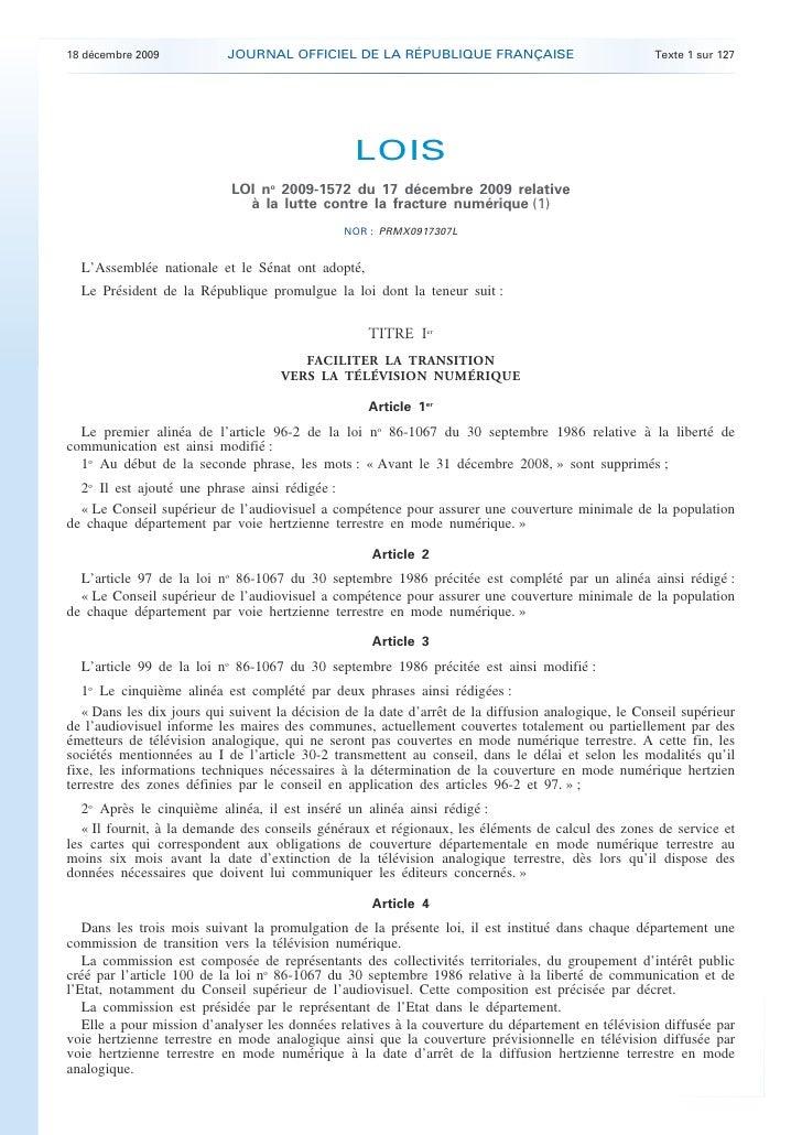 18 décembre 2009           JOURNAL OFFICIEL DE LA RÉPUBLIQUE FRANÇAISE                               Texte 1 sur 127      ...