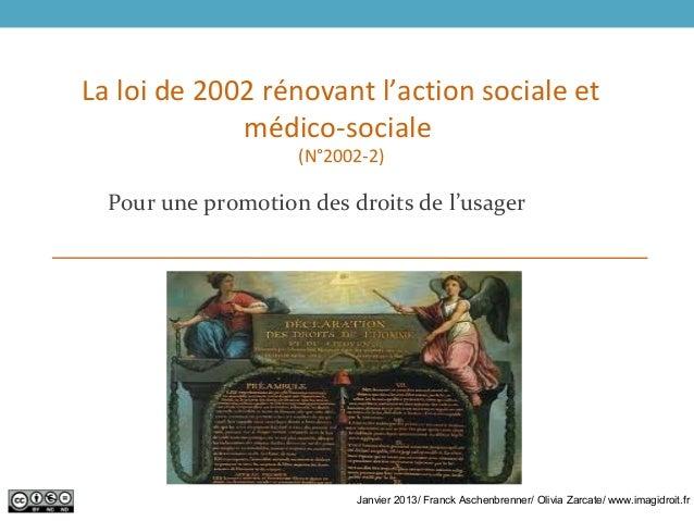 La loi de 2002 rénovant l'action sociale etmédico-sociale(N°2002-2)Pour une promotion des droits de l'usagerJanvier 2013/ ...