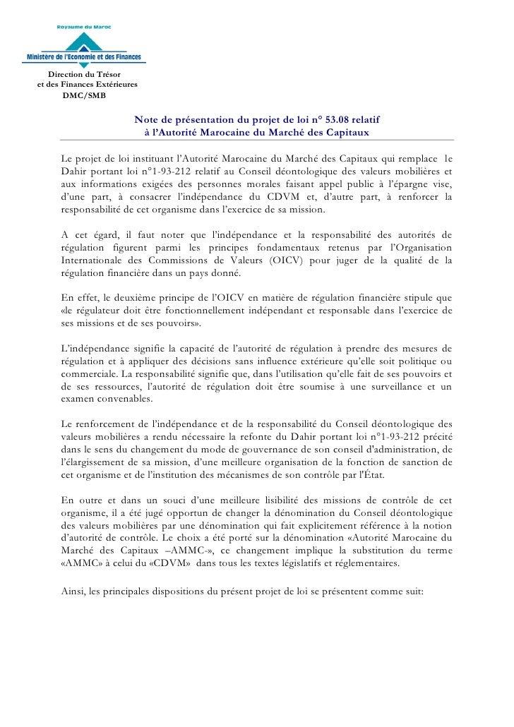 Direction du Trésoret des Finances Extérieures       DMC/SMB                          Note de présentation du projet de lo...