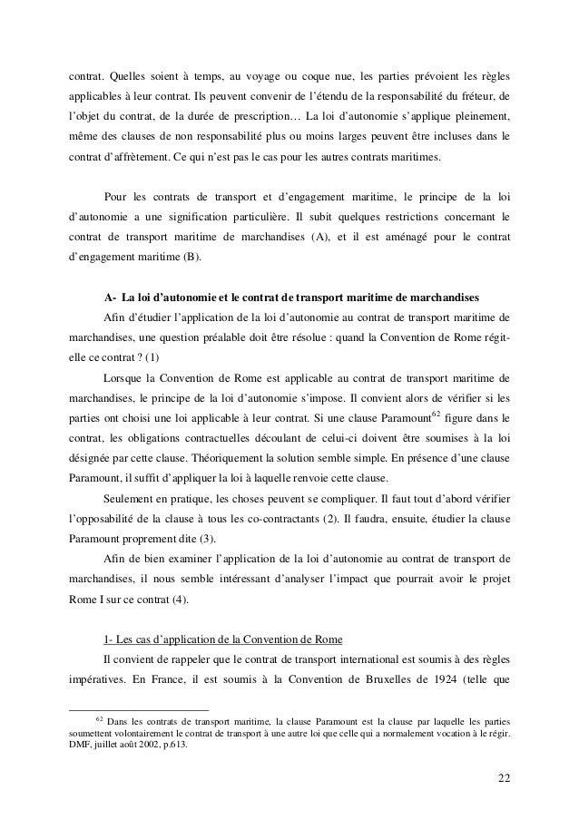 Loi Applicable Aux Contrats Maritimes