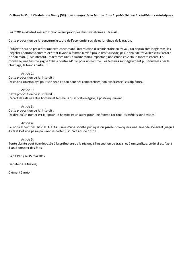 Collège le Mont Chatelet de Varzy (58) pour Images de la femme dans la publicité : de la réalité aux stéréotypes. Loi n°20...