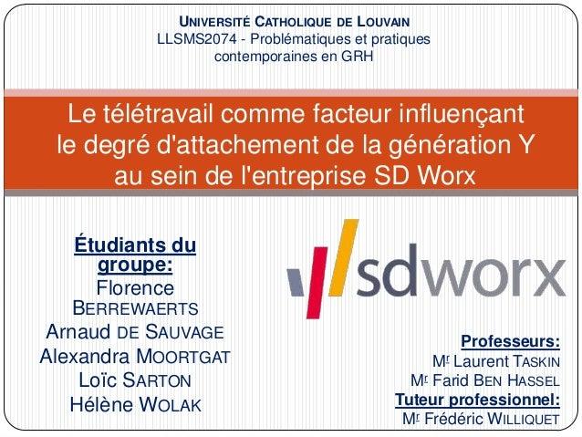 Étudiants du groupe: Florence BERREWAERTS Arnaud DE SAUVAGE Alexandra MOORTGAT Loïc SARTON Hélène WOLAK Le télétravail com...