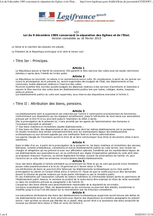 LOI Loi du 9 décembre 1905 concernant la séparation des Eglises et de l'Etat. Version consolidée au 16 février 2015 Le Sén...