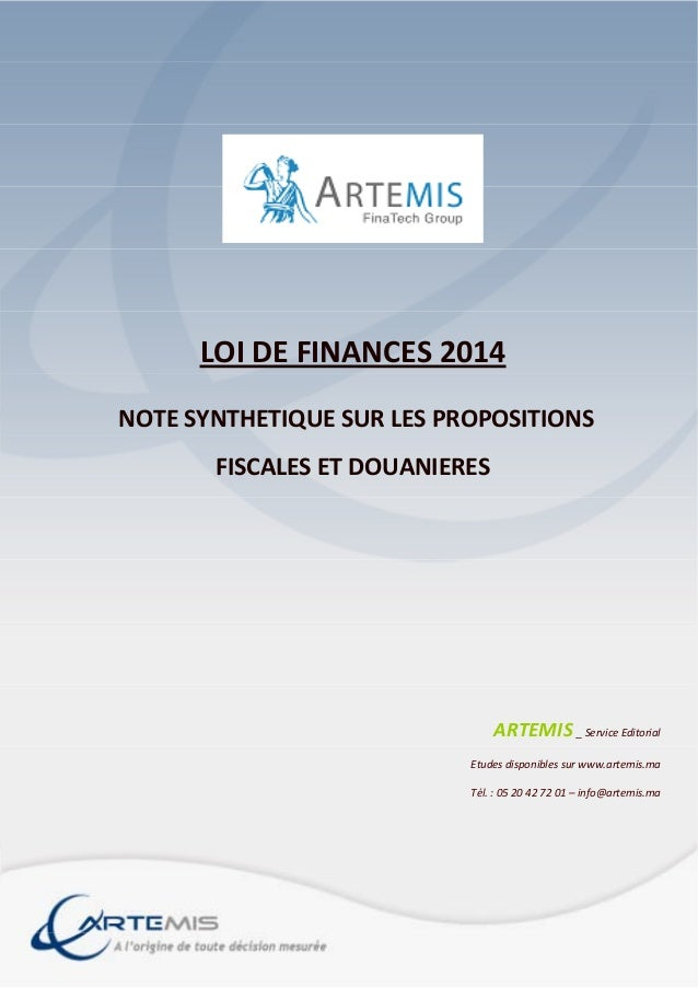 LOIDEFINANCES2014 NOTESYNTHETIQUESURLESPROPOSITIONS FISCALESETDOUANIERES       ARTEMIS_Service...