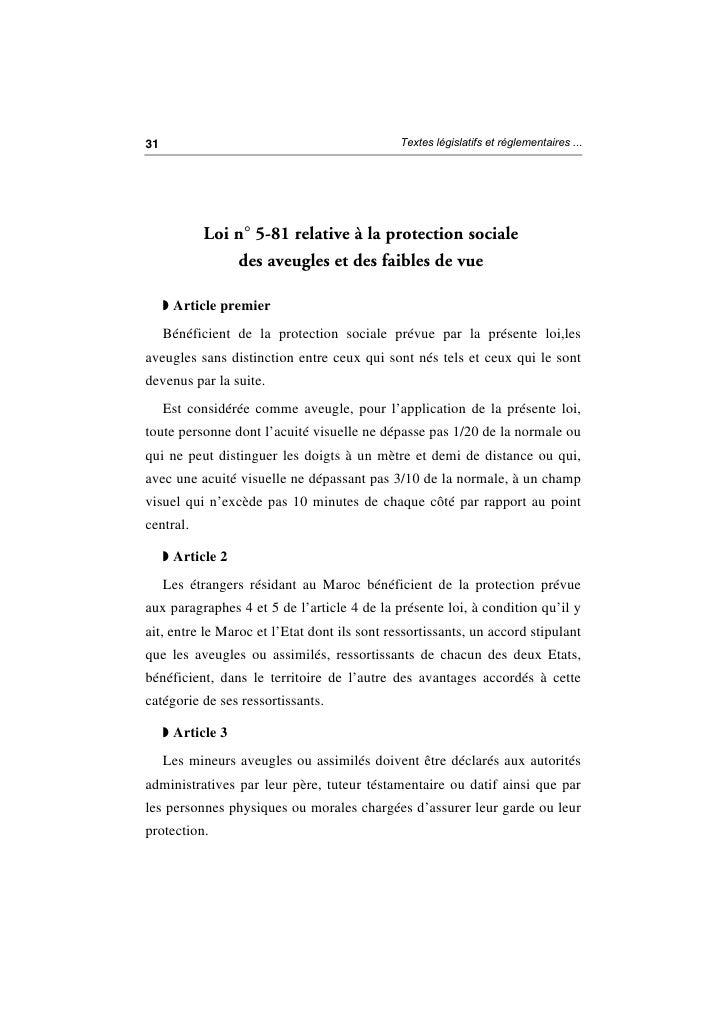 Loi n° 5 81 relative à la protection sociale des aveugles et des déficients visuels Slide 2
