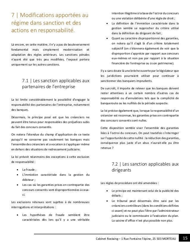 15Cabinet Rostaing – 1 Rue Fontaine l'épine, 25 503 MORTEAU 7 | Modifications apportées au régime dans sanction et des act...