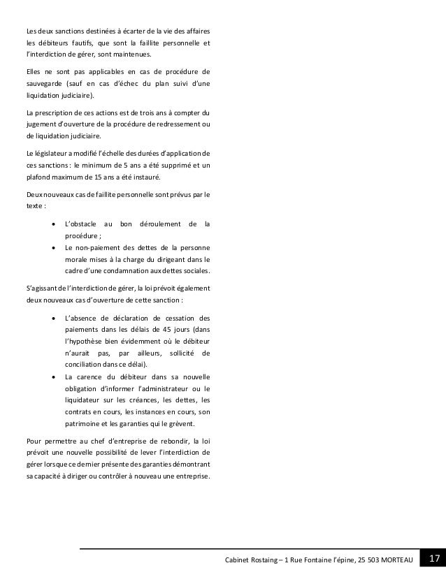 17Cabinet Rostaing – 1 Rue Fontaine l'épine, 25 503 MORTEAU Les deux sanctions destinées à écarter de la vie des affaires ...