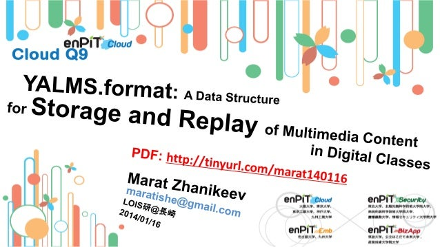 .  .  YALMS Basics  M.Zhanikeev, H.Koide -- maratishe@gmail.com --  YALMS: A Data Structure for Storage and Replay of Mult...