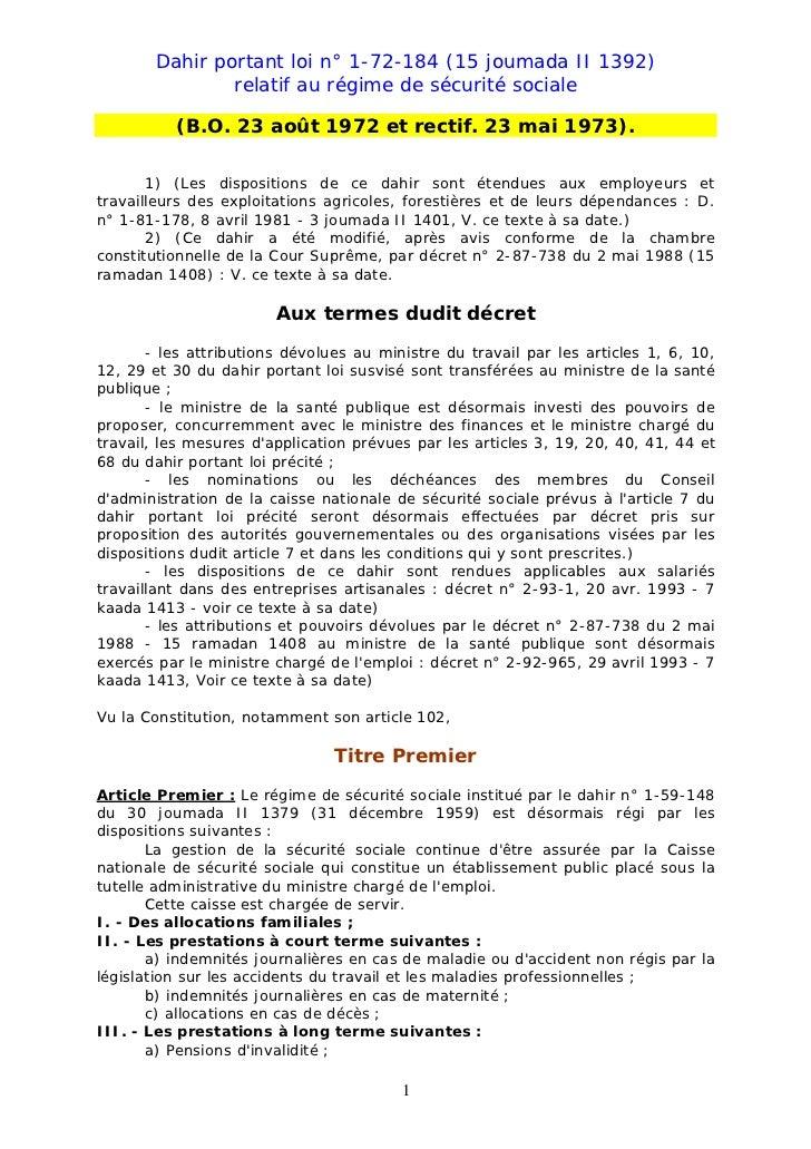 Dahir portant loi n° 1-72-184 (15 joumada II 1392)                relatif au régime de sécurité sociale          (B.O. 23 ...
