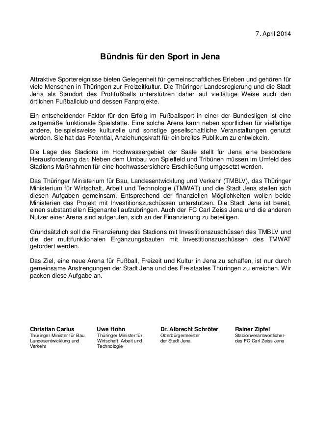 7. April 2014 Bündnis für den Sport in Jena Attraktive Sportereignisse bieten Gelegenheit für gemeinschaftliches Erleben u...