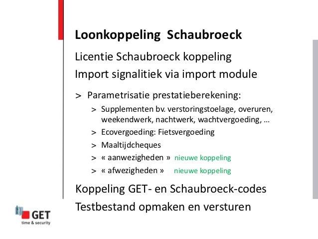 Loonkoppeling SchaubroeckLicentie Schaubroeck koppelingImport signalitiek via import module> Parametrisatie prestatieberek...