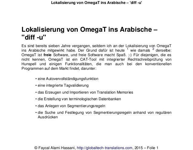 """Lokalisierung von OmegaT ins Arabische – """"diff -u"""" Es sind bereits sieben Jahre vergangen, seitdem ich an der Lokalisierun..."""
