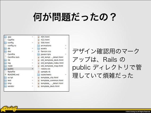 どう対応したの?• デザイン確認用のマークアップに、専  用のルーティングを用意して、Rails で  表示できるようにした• http://localhost:3000/pc/map/
