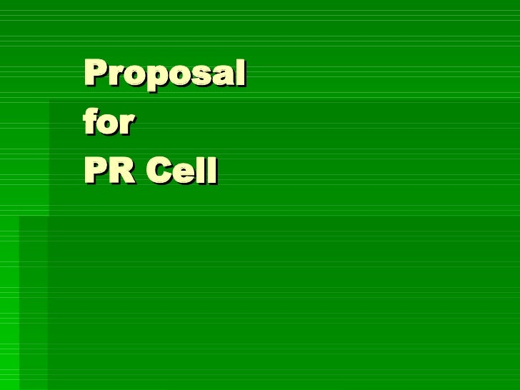 Proposal  for  PR Cell