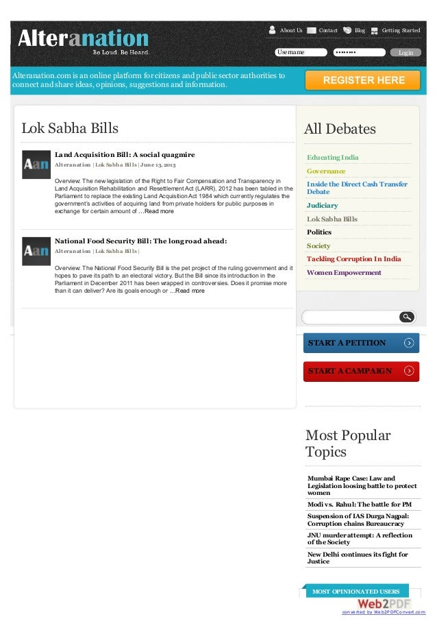 About Us  Contact  Username  Blog  Getting Started  ••••••••  Login  Alteranation.com is an online platform for citizens a...