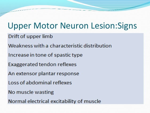 Lower motor neuron symptoms for Upper motor neuron syndrome symptoms