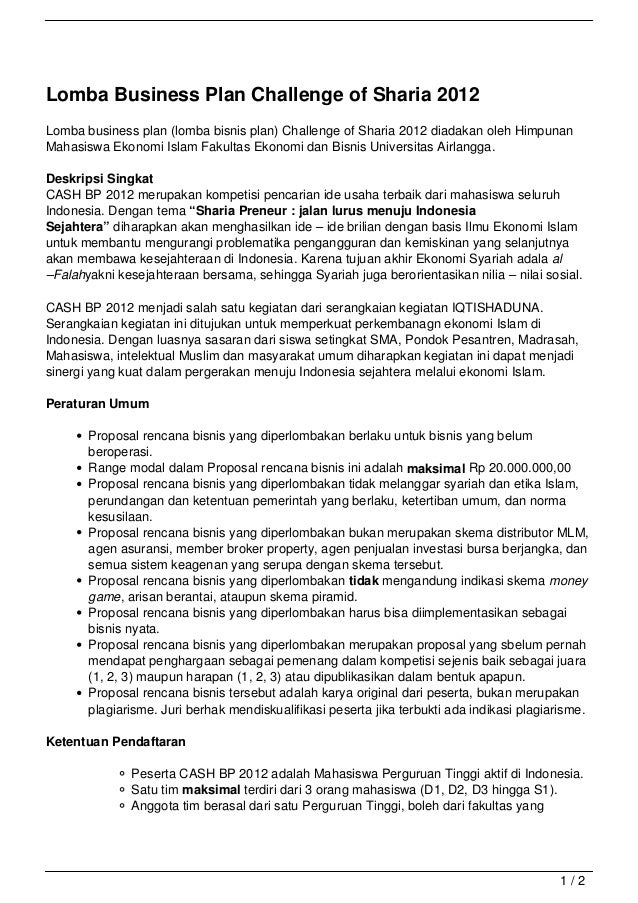 challenge of sharia business plan 2012 gmc