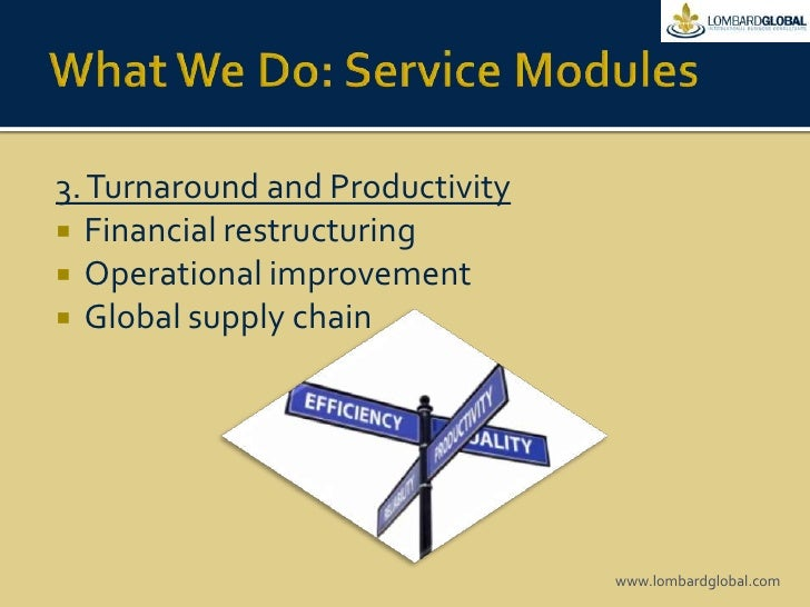 What We Do: Service Modules<br />3. Turnaround and Productivity<br />Financial restructuring<br />Operational improvement ...