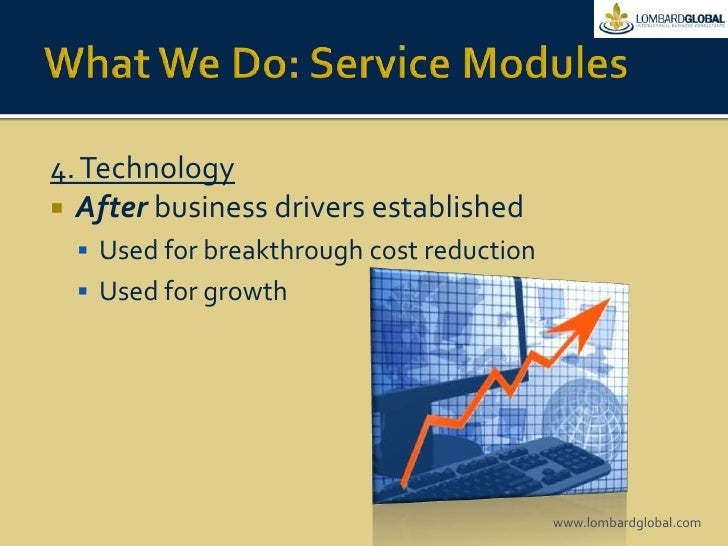 What We Do: Service Modules<br />4. Technology<br />Afterbusiness drivers established<br />Used for breakthrough cost redu...