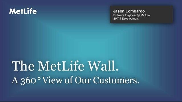 Jason LombardoSoftware Engineer @ MetLifeSWAT DevelopmentThe MetLife Wall.A 360° View of Our Customers.