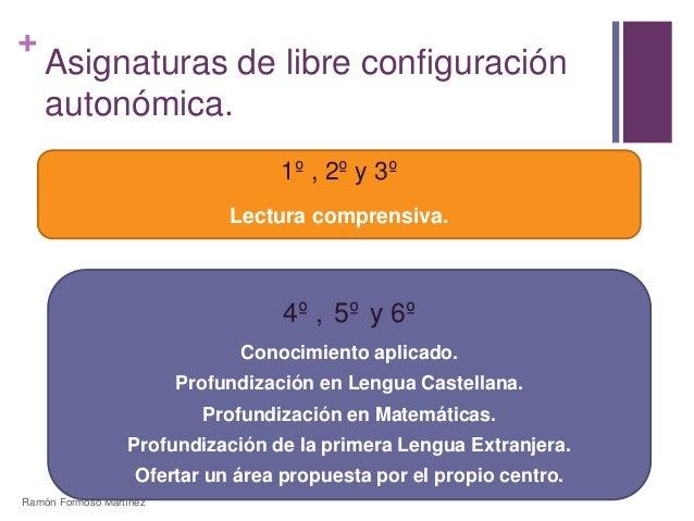 +  Asignaturas de libre configuración  autonómica.  1º , 2º y 3º  Lectura comprensiva.  4º , 5º y 6º  Conocimiento aplicad...