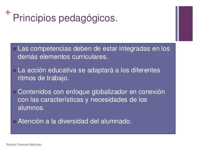 +  Principios pedagógicos.   Las competencias deben de estar integradas en los  demás elementos curriculares.   La acció...