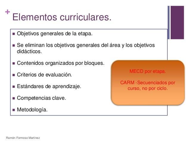 +  Elementos curriculares.   Objetivos generales de la etapa.   Se eliminan los objetivos generales del área y los objet...