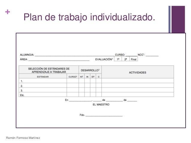 +  Plan de trabajo individualizado.  Ramón Formoso Martínez