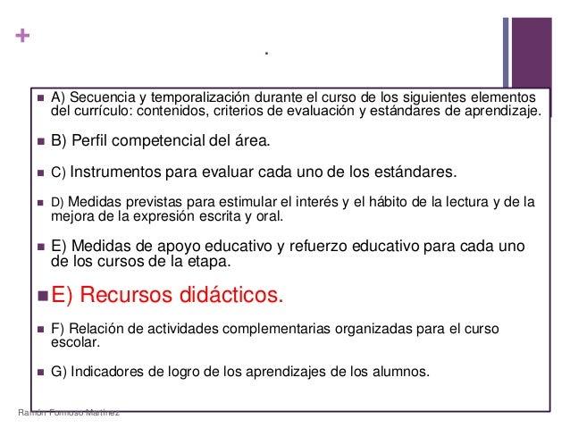 +  .   A) Secuencia y temporalización durante el curso de los siguientes elementos  del currículo: contenidos, criterios...