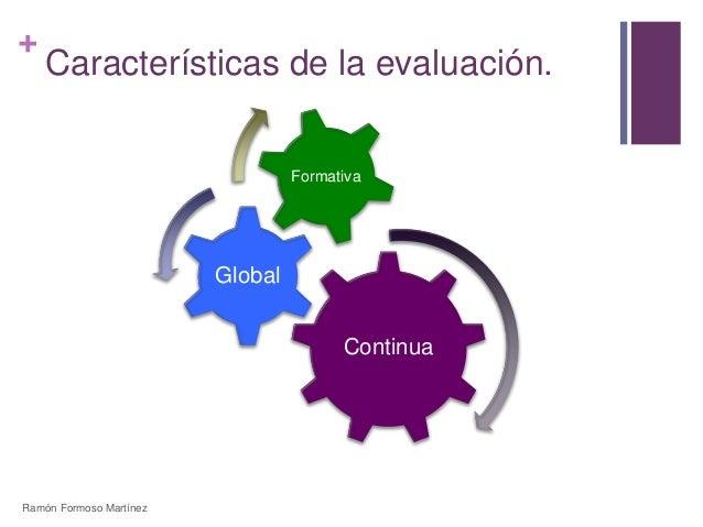 +  Características de la evaluación.  Continua  Global  Formativa  Ramón Formoso Martínez