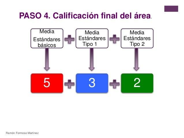 PASO 4. Calificación final del área.  Media  Estándares  básicos  Media  Estándares  Tipo 1  Media  Estándares  Tipo 2  5 ...
