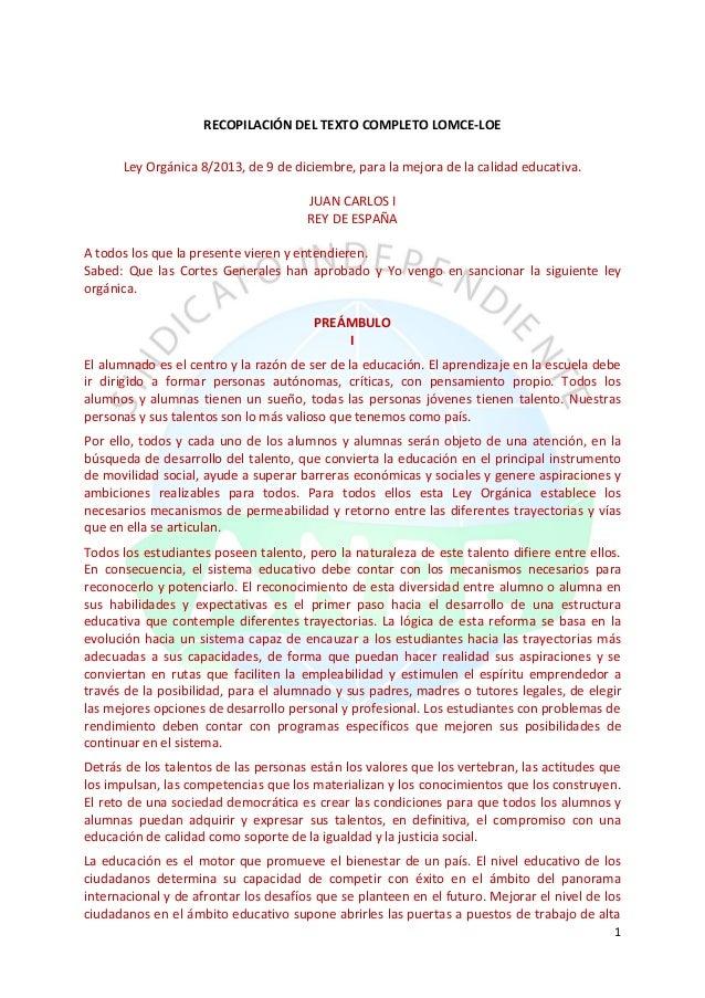 1 RECOPILACIÓN DEL TEXTO COMPLETO LOMCE-LOE Ley Orgánica 8/2013, de 9 de diciembre, para la mejora de la calidad educativa...