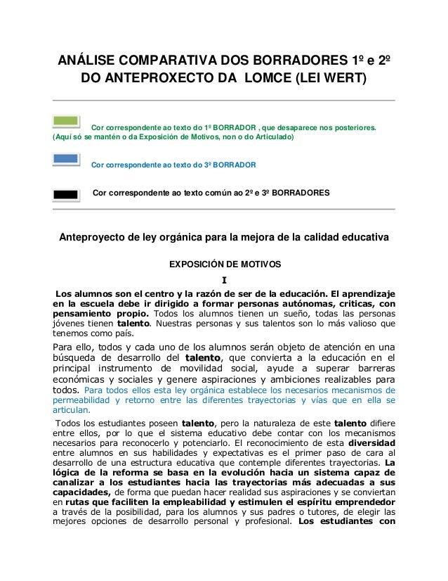ANÁLISE COMPARATIVA DOS BORRADORES 1º e 2º   DO ANTEPROXECTO DA LOMCE (LEI WERT)           Cor correspondente ao texto do ...