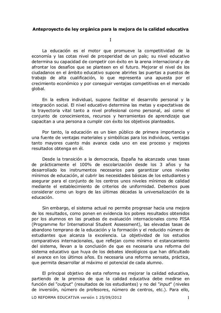 Anteproyecto de ley orgánica para la mejora de la calidad educativa                                      I     La educació...