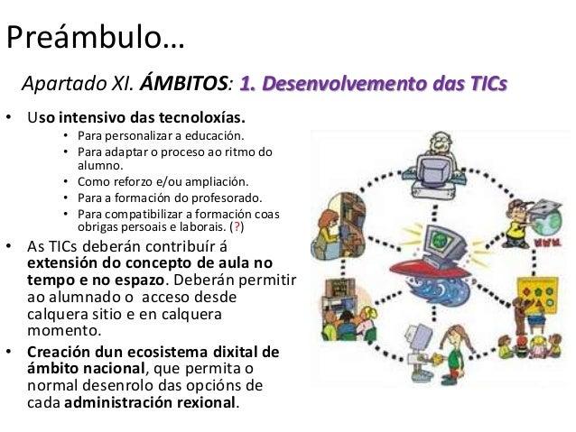 Preámbulo…  Apartado XI. ÁMBITOS: 1. Desenvolvemento das TICs• Uso intensivo das tecnoloxías.       • Para personalizar a ...