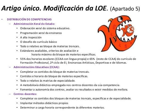 Artigo único. Modificación da LOE. (Apartado 5)•   DISTRIBUCIÓN DE COMPETENCIAS     – Administración Xeral do Estado:     ...