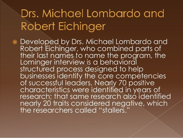 lominger interview architect