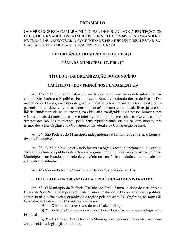PREÂMBULOOS VEREADORES À CÂMARA MUNICIPAL DE PIRAJU, SOB A PROTEÇÃO DEDEUS, OBSERVANDO OS PRINCÍPIOS CONSTITUCIONAIS E INS...