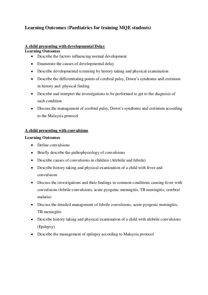 Learning Outcomes (Paediatrics for training MQE students)A child presenting with developmental DelayLearning Outcomes     ...