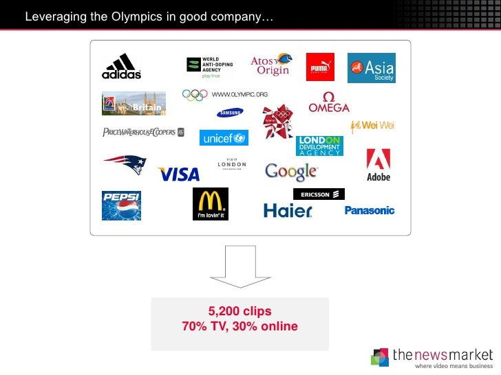 Leveraging the Olympics in good company…                            5,200 clips                         70% TV, 30% online