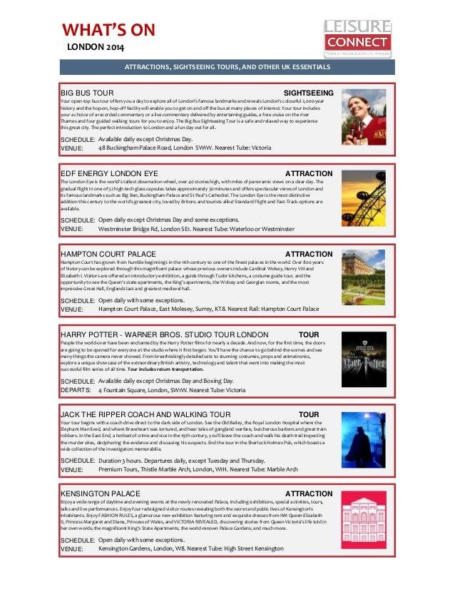 London 2014 Theater Entertainment Schedule