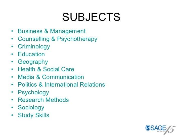 SUBJECTS <ul><li>Business & Management </li></ul><ul><li>Counselling & Psychotherapy </li></ul><ul><li>Criminology </li></...